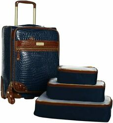 Samantha Brown 21 Upright Spinner With 3-piece Packing Cubes Navy Nwt