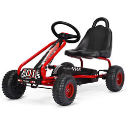 Gymax Kids Pedal Go Kart 4 Wheel Ride On Toys W/ Adjustable Seat And Handbrake Red