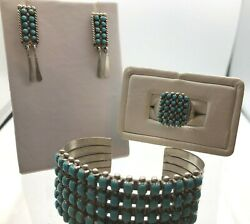 Early Vintage Silver Zuni Bracelet Earring Ring Set Signed A Bowekaty And Ecl