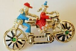 Vintage Silver Tone Tandem Bicycle Brooch Best Friends Faux Pearl And Rhinestone