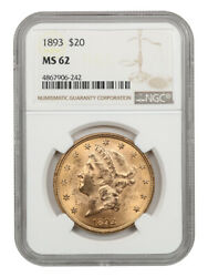 1893 20 Ngc Ms62 - Liberty Double Eagle - Gold Coin