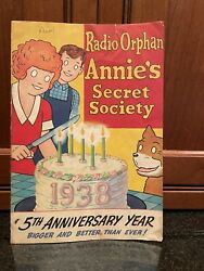 Radio Orphan Annieand039s Secret Society Booklet - 1938 With Decoder Pin