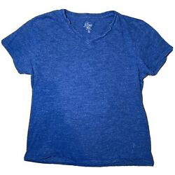 J.Crew T Shirt Men#x27;s Large Slim Blue Authentic Knit Goods Small for Size $10.99