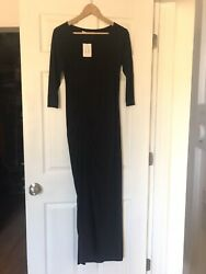 Peruvian Connection Womens Size Small Origami Black Evening Dress Slit $69.95