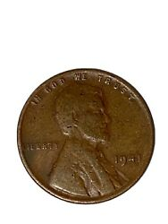 Rare 1941 Lincoln No Mint Mark Wheat Penny One Cent Coin