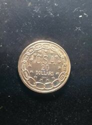 1861 Seated Liberty Csa Confederate States 20 Dollars Gold Coin Copy