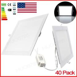 40x 24w Led Ceiling Recessed Panel Down Lights Square Cool White Light Bulbs