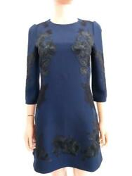 Nwt Dolce And Gabbana Exclusive Navy/black Lace Detail Dress 40/us 4 2595