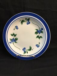 """Four  Ll Bean Blueberry Salad Plates 8-1/2"""" Discontinued Pattern"""