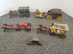 Antique Cast Iron Lot Horse Drawn Carriage Fire Engine Circuise Wagon And Car