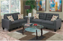 Blue Grey Polyfiber Couch Sofa Set Sofa And Loveseat Foam Tufted Back Sofa Couch