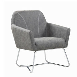 Saltoro Sherpi Faux Leather Upholstered Accent Chair With Metal Legs Gray And