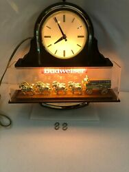 Vintage Budweiser Clydesdale Horse Beer Light And Clock