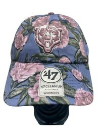 Chicago Bears 47 Brand Clean Up Peony Floral Ball Cap Hat Nfl Adjustable