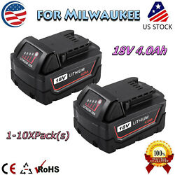 M18 Xc 18 Volt 4.0ah High Capacity Lithium-ion Battery For Milwaukee 48-11-1840