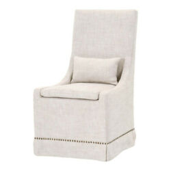 Dining Chair With Slip On Cover And Nailhead Trim, Set Of 2, Cream, Saltoro
