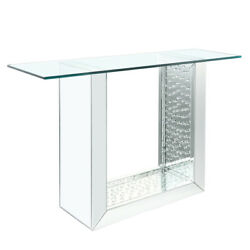 Saltoro Sherpi 46 Inches Glass Top Console Table With Mirrored Sled Base, Silver