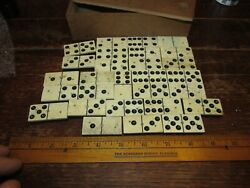 28 Antique Dominoes 1.75 X 1/4 Ebony And Bone And 3 Brass Rivet, Box Dated 1912