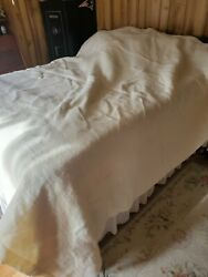 Chatham Wool Blanket King Queen 102x90 Vintage Off White