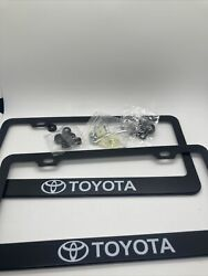 2x Toyota Metal Black License Plate Frame With Caps And Screws
