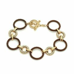 Charriol Diamond Stainless Steel And 18k Gold Circle Link Toggle Bracelet
