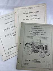 Massey Harris 44 Owners Manual With Special Instructions And Lift Inst Original