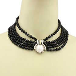 Vintage Mabe Pearl 18k Gold Sterling 5 Strand Onyx Bead Choker Necklace