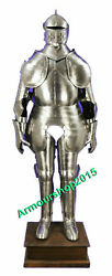 Medieval Knight Suit Of Armor Medieval Full Size Silver Finish Costume