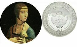 Lady With An Ermine Great Micromosaic Passion 3 Oz Silver Coin 20 Palau 2020