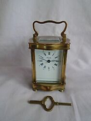 L'epee Doucine Serpentine Timepiece Carriage Clock In Good Working Order + Key