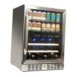 """24"""" Wine And Beverage Refrigerator Cooler, 20 Bottle And 70 Can Capacity,"""