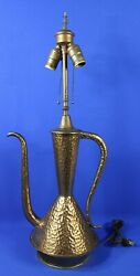 Vintage Middle Eastern Dallah Hammered Copper Coffee/tea Pot Table Lamp 27 H