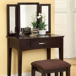 Saltoro Sherpi Wooden Vanity Table With 3 Panel Mirror And Padded Stool,