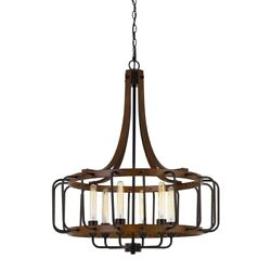 Saltoro Sherpi 6 Bulb Round Chandelier With Wooden Frame And Metal Bars Brown