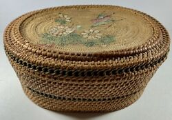 Antique Victorian Era Sewing Basket Box Woven Wicker Hand Painted Birds Fabric