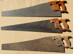 Lot Of 3 Vintage Disston Hand Saws D-8 With Thumbhole, D-23 With Wheat Handle +
