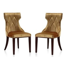 Reine Antique Gold And Walnut Velvet Dining Chair Set Of Two