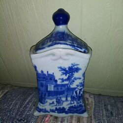 Flow Blue Victoria Ware Ironstone Canister