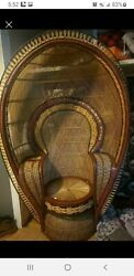 Vintage Peacock Chair With Cup Holder