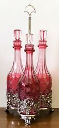 Antique Silverplate 3 Cranberry Etched Glass Wine Bottle Liquor Decanter Caddy