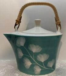 Huesnbrews Teal Blue Turquoise Ceramic Teapot And Infusor Unique Unusual Shape Mcm