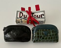 Brighton Leather Coin Purse Black Teal, Jewelry Travel Roll Organizer