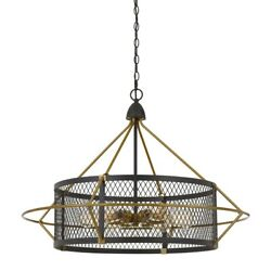 Saltoro Sherpi 6 Bulb Metal Chandelier With Round Mesh Frame Black And Gold