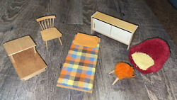 vintage dollhouse dorm furniture bed night stand Retro Fur Saucer Chair Stool