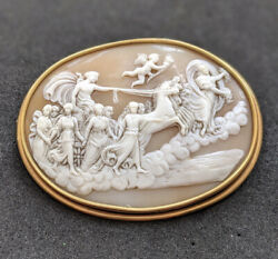 Large Antique Early 19th Century Aurora Fresco Shell Cameo 9ct Gold Brooch
