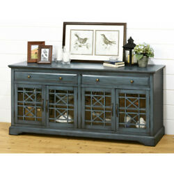 Craftsman Series 70 Inch Wooden Media Unit With Fretwork Glass Front Antique