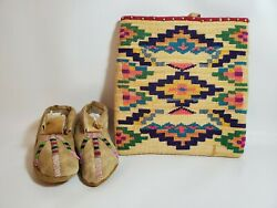 Native American Nez Perce Beaded Antique Moccasins And Corn Husk Bag Condition++++