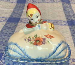 Vintage Hull Little Red Riding Hood Butter Dish W Gold Pat.dos.no.135889