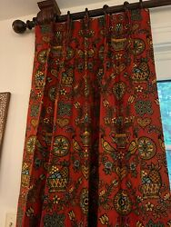 3 Panels 24x64 Pinch Pleat Custom Lined Drapes Curtains Panel Red Pattern