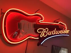 Budweiser Limited Edition Electric Guitar Neon Sign Rare King Of Neons Original